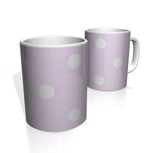 Caneca De Porcelana Nerderia e Lojaria lilas dark bolas brancas colorido