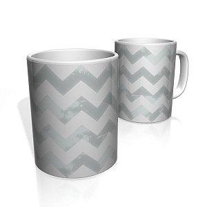 Caneca De Porcelana Nerderia e Lojaria linha zigzag cinza claro colorido