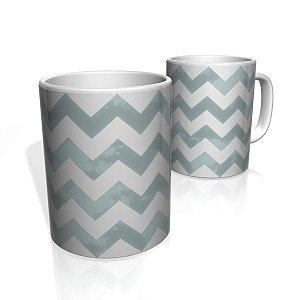 Caneca De Porcelana Nerderia e Lojaria linha zigzag cinza escuro colorido