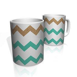 Caneca De Porcelana Nerderia e Lojaria linha zigzag verde marrom colorido