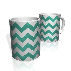 Caneca De Porcelana Nerderia e Lojaria linhas zigzag verde escuro  colorido