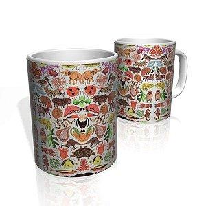 Caneca De Porcelana Nerderia e Lojaria reino animal colorido