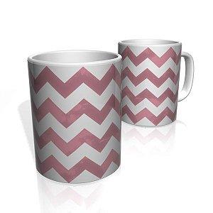 Caneca De Porcelana Nerderia e Lojaria risco zigzag rosa escuro  colorido