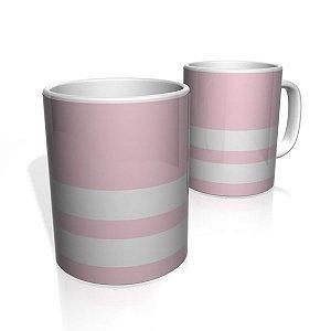Caneca De Porcelana Nerderia e Lojaria rosa claro duas faixas 2 colorido