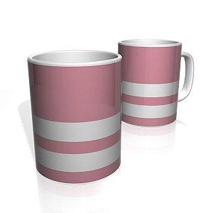 Caneca De Porcelana Nerderia e Lojaria rosa duas faixas 2 colorido