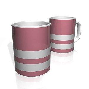 Caneca De Porcelana Nerderia e Lojaria rosa duas faixas 3 colorido