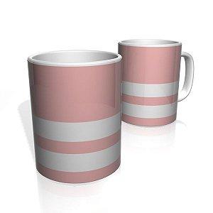 Caneca De Porcelana Nerderia e Lojaria rosa escuro duas faixas 2 colorido