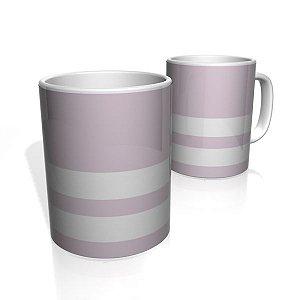 Caneca De Porcelana Nerderia e Lojaria roxo claro duas faixas 2 colorido