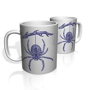 Caneca De Porcelana Nerderia e Lojaria spider blue colorido