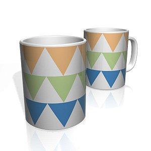 Caneca De Porcelana Nerderia e Lojaria triangles coloridos colorido