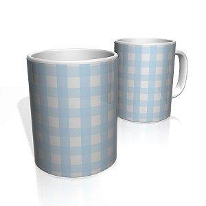 Caneca De Porcelana Nerderia e Lojaria xadrez azul  colorido