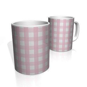 Caneca De Porcelana Nerderia e Lojaria xadrez rosa  colorido