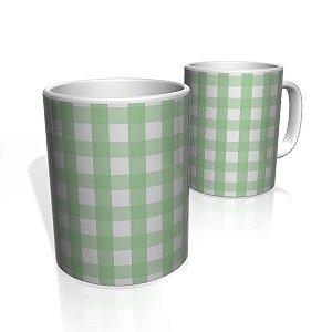 Caneca De Porcelana Nerderia e Lojaria xadrez verde colorido