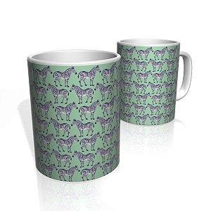 Caneca De Porcelana Nerderia e Lojaria zebras colorido