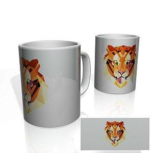 Caneca decorativa Nerderia e Lojaria geometric tiger colorido