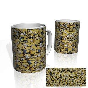 Caneca decorativa Nerderia e Lojaria minions aglomerados colorido