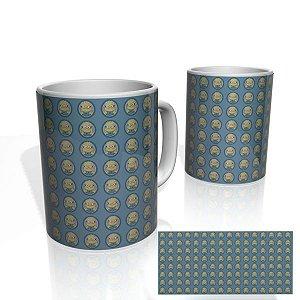 Caneca decorativa Nerderia e Lojaria minions circulos azuis colorido