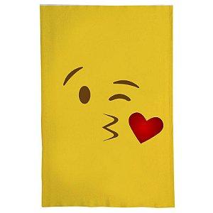 Pano De Prato Descorativo Nerderia e Lojaria emoticon beijo colorido
