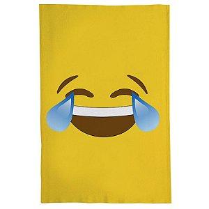 Pano De Prato Descorativo Nerderia e Lojaria emoticon rindo colorido