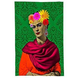 Pano De Prato Descorativo Nerderia e Lojaria frida flores verde colorido
