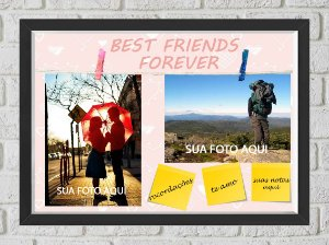 Quadro Caixa Porta Foto e Recadinho com Varal 23x33cm best friend forever 1 preto