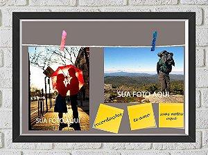Quadro Caixa Porta Foto e Recadinho com Varal 23x33cm fundo cinza preto