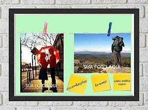Quadro Caixa Porta Foto e Recadinho com Varal 23x33cm fundo verde preto