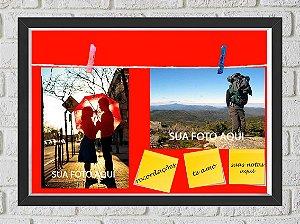Quadro Caixa Porta Foto e Recadinho com Varal 23x33cm fundo vermelho preto
