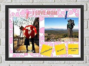 Quadro Caixa Porta Foto e Recadinho com Varal 23x33cm i love mon preto