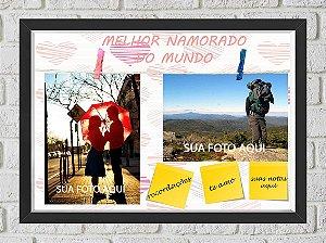 Quadro Caixa Porta Foto e Recadinho com Varal 23x33cm melhor namorado  preto