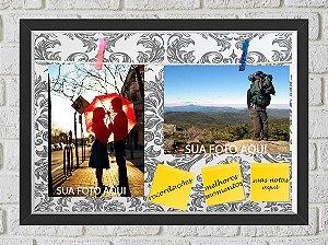 Quadro Caixa Porta Foto e Recadinho com Varal 23x33cm petalas cinza old preto