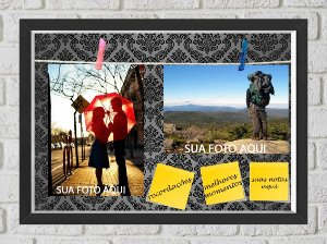 Quadro Caixa Porta Foto e Recadinho com Varal 23x33cm petalas pretas old  preto