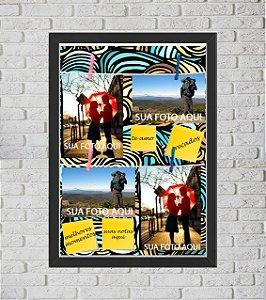 Quadro Caixa Porta Foto e Recadinho com Varal 33x43cm abstrato verde laranja preto