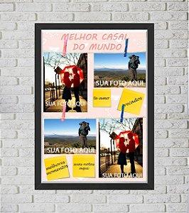 Quadro Caixa Porta Foto e Recadinho com Varal 33x43cm best friend forever 2 preto