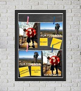 Quadro Caixa Porta Foto e Recadinho com Varal 33x43cm cinza preto
