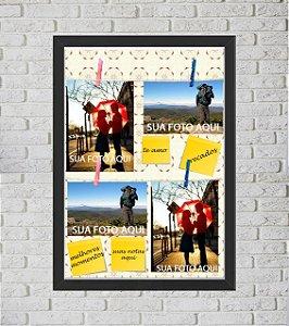 Quadro Caixa Porta Foto e Recadinho com Varal 33x43cm flor preto