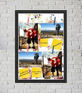 Quadro Caixa Porta Foto e Recadinho com Varal 33x43cm flowers colors preto