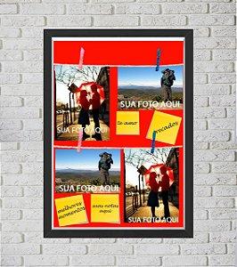 Quadro Caixa Porta Foto e Recadinho com Varal 33x43cm fundo cinza preto