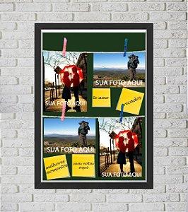 Quadro Caixa Porta Foto e Recadinho com Varal 33x43cm fundo preto preto