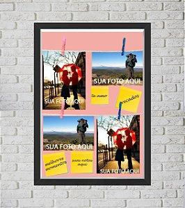 Quadro Caixa Porta Foto e Recadinho com Varal 33x43cm melhor casal 2 preto