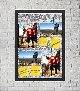 Quadro Caixa Porta Foto e Recadinho com Varal 33x43cm petalas cinza old preto