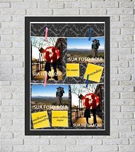 Quadro Caixa Porta Foto e Recadinho com Varal 33x43cm petalas pretas old A preto
