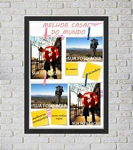 Quadro Caixa Porta Foto e Recadinho com Varal 33x43cm te amo  preto