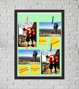 Quadro Caixa Porta Foto e Recadinho com Varal 33x43cm te amo 2 preto