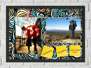 Quadro Porta Foto e Recadinho com Varal 23x33cm abstrato verde laranja preto