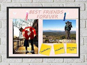 Quadro Porta Foto e Recadinho com Varal 23x33cm best friend forever 1 preto