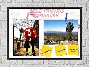 Quadro Porta Foto e Recadinho com Varal 23x33cm best friend forever 2 preto