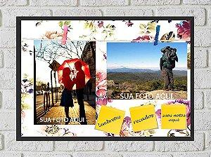 Quadro Porta Foto e Recadinho com Varal 23x33cm flowers colors preto