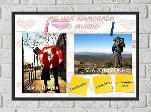 Quadro Porta Foto e Recadinho com Varal 23x33cm melhor namorado  preto