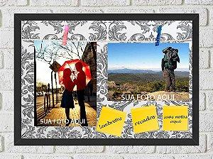 Quadro Porta Foto e Recadinho com Varal 23x33cm petalas cinza old preto